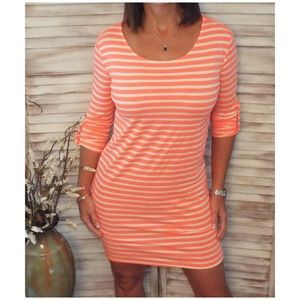 Dresses & Skirts - Striped 3/4 Sleeve Loose Tee Dress Neon Coral 2219